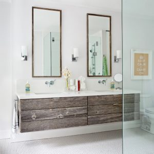 floating-reclaimed-wood-plank-bathroom-vanity-tall-vanity-mirrors