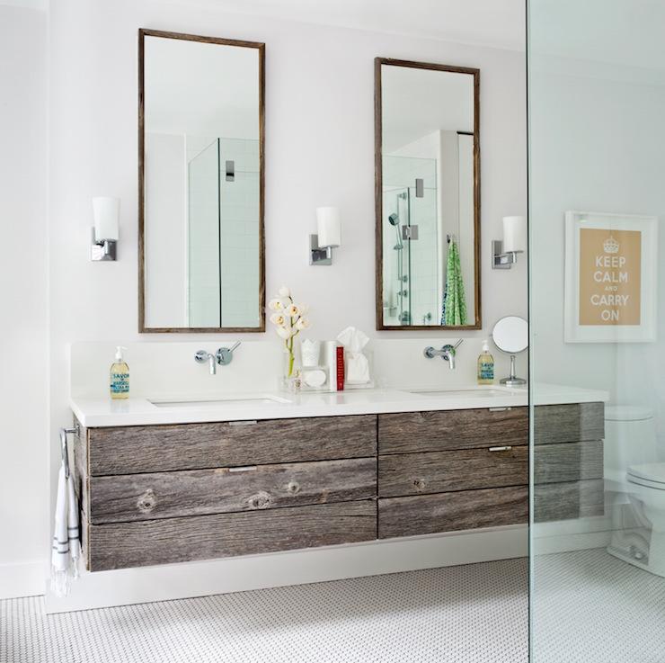 floating reclaimed wood plank bathroom vanity tall vanity - Bathroom Cabinets Tall